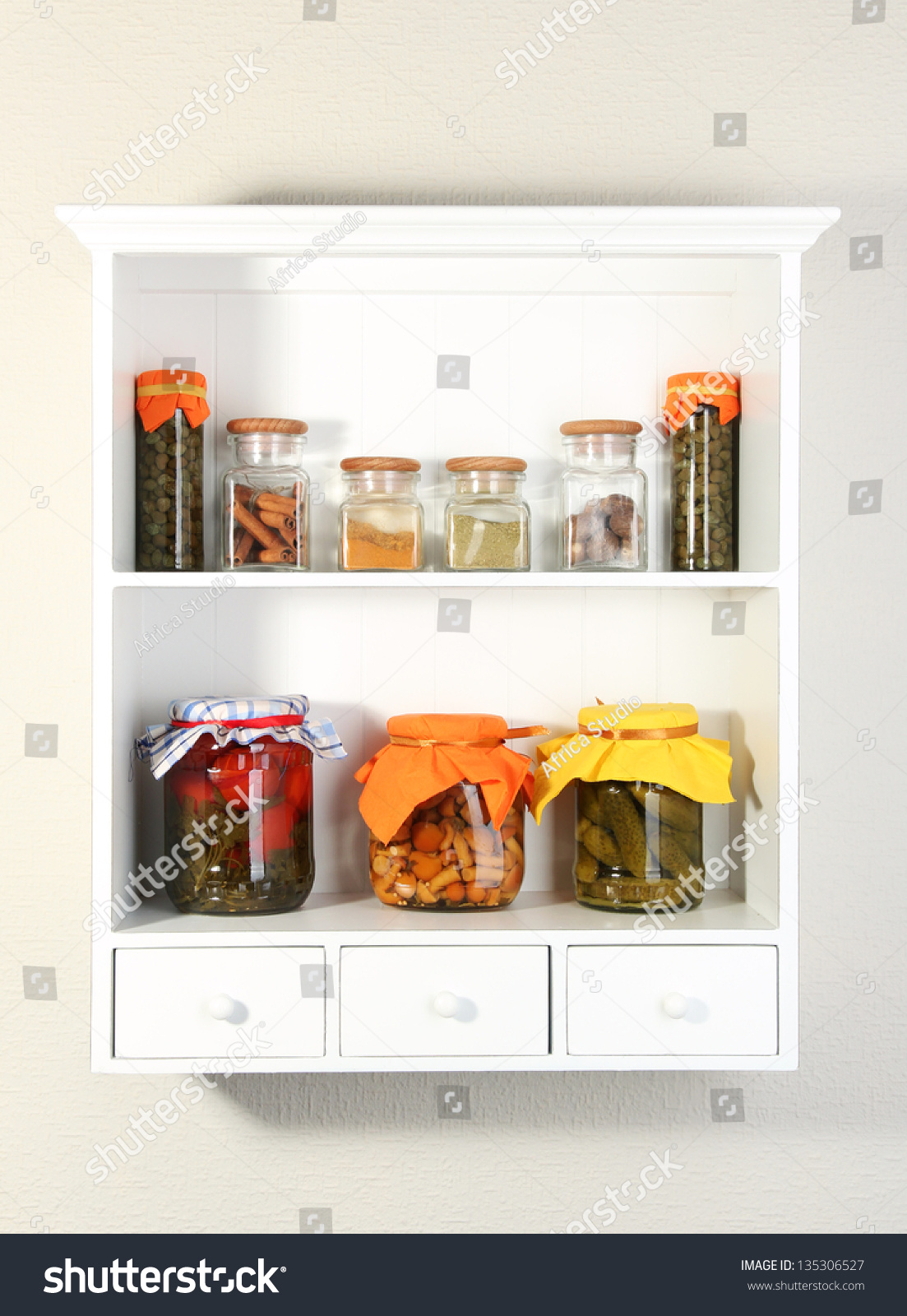Homemade preserves and some spices on beautiful white for Beautiful shelves images