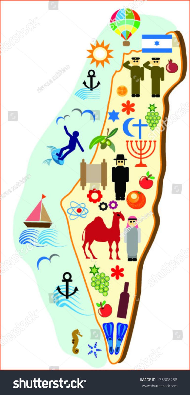 map of israel symbols of tourism. map israel symbols tourism stock vector   shutterstock
