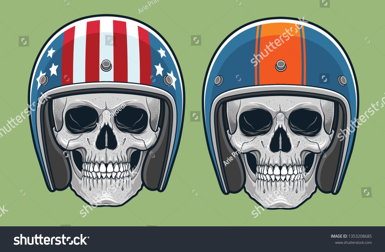 Skulls Vintage Racing Helmets Stock Vector Royalty Free 1353208685