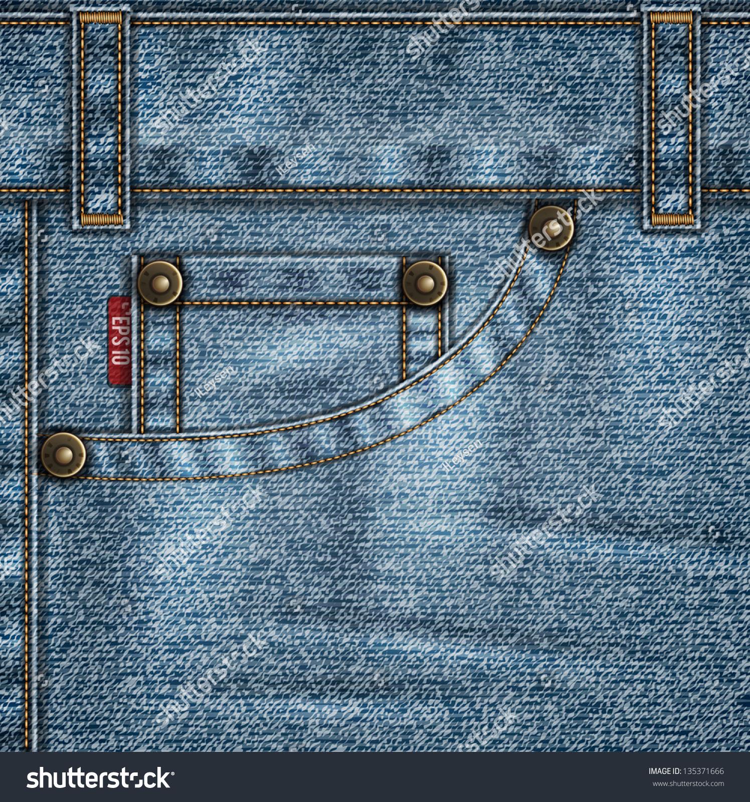 denim template jeans pocket rivets stitches stock vector