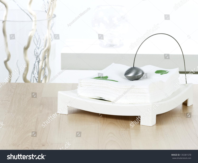 Modern Paper Napkin Holder On Dining Stock Photo Edit Now 135381578