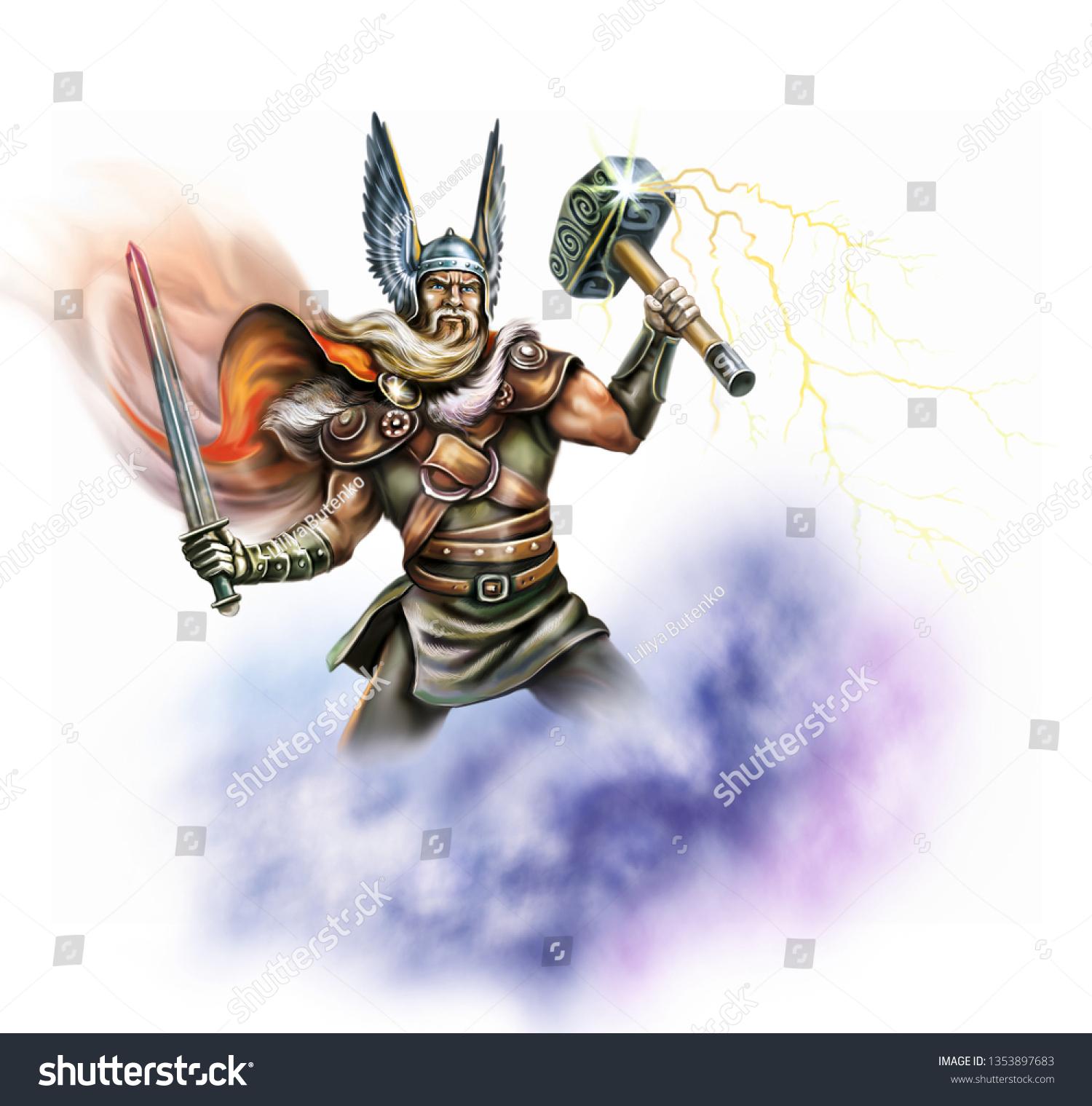 God Thor Holds Hammer Mjelnir Warrior Stock Illustration