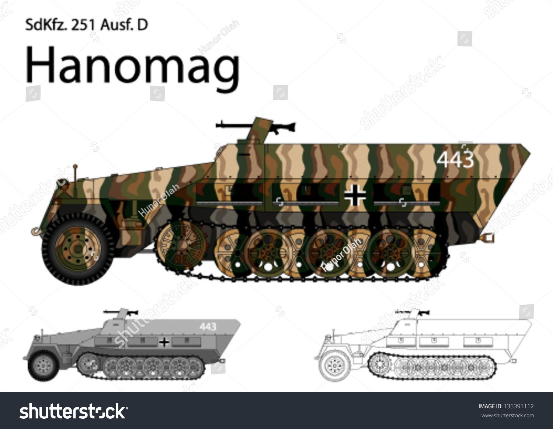 Creating A Blueprint Ww2 German Sdkfz 251 D Troop Stock Vector 135391112