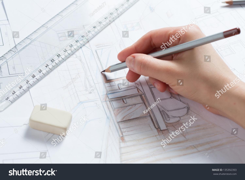Interior Designer Works On Hand Drawing Stock Photo 135392393 ... - ^