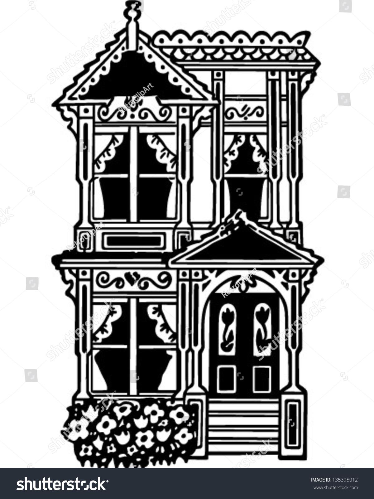 Victorian Row House Retro Clip Art Stock Vector 135395012 ...