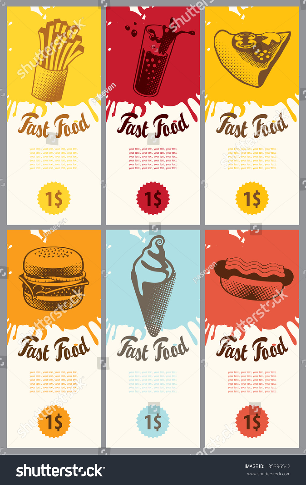Set Business Cards Fast Food Stock Photo (Photo, Vector ...
