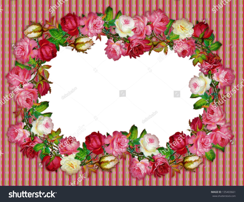Vintage Rose Frame On Wallpaper Stock Illustration 135403661 ...