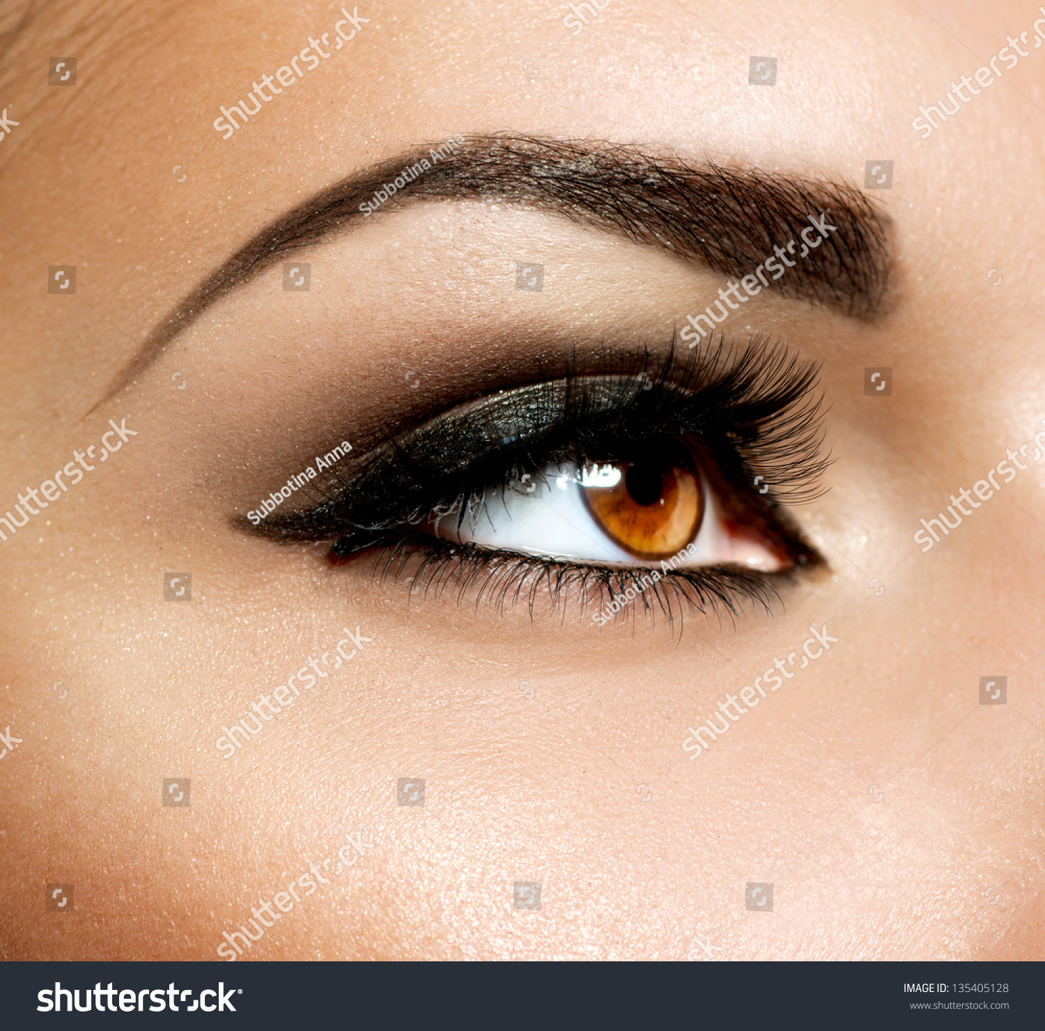 Brown Eye Makeup Eyes Makeup Beautiful Stock Photo