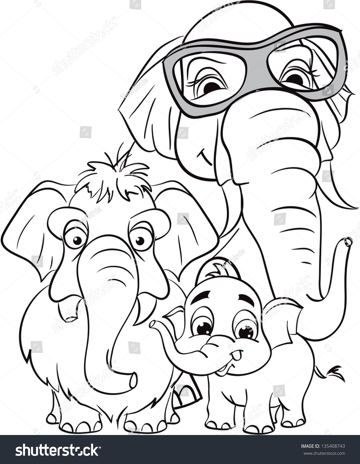 outline drawing family elephants stock vector 135408743 shutterstock