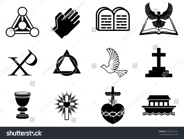 Set Christianity Icons Symbols Including Dove Stock Illustration