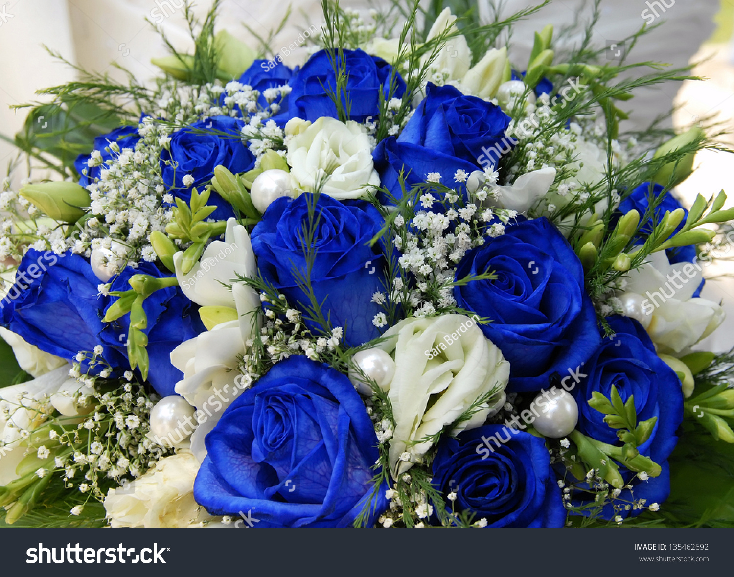Beautiful Bouquet Blue Roses Stock Photo (Edit Now) 135462692 ...