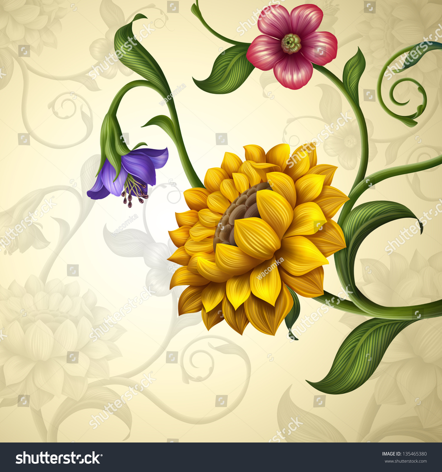 Vintage Fantasy Spring Summer Flowers Background Stock Illustration
