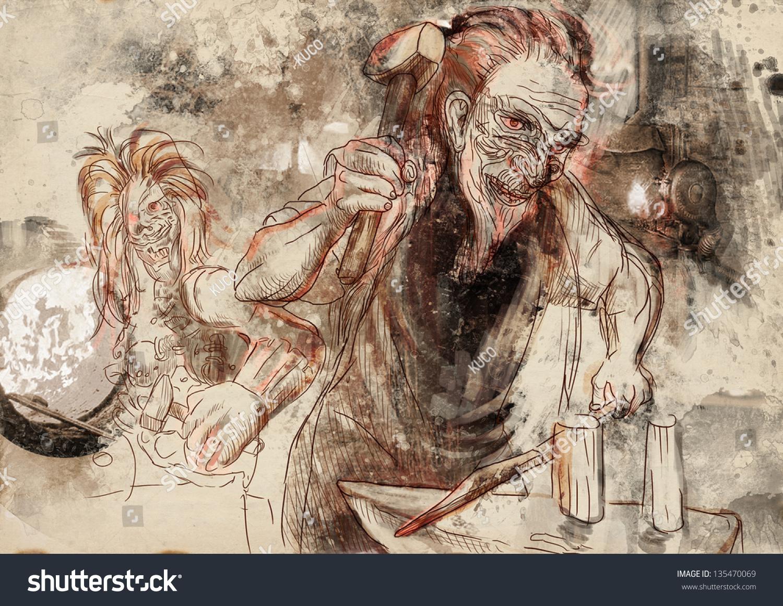 hephaestus greek god blacksmiths craftsmen artisans stock