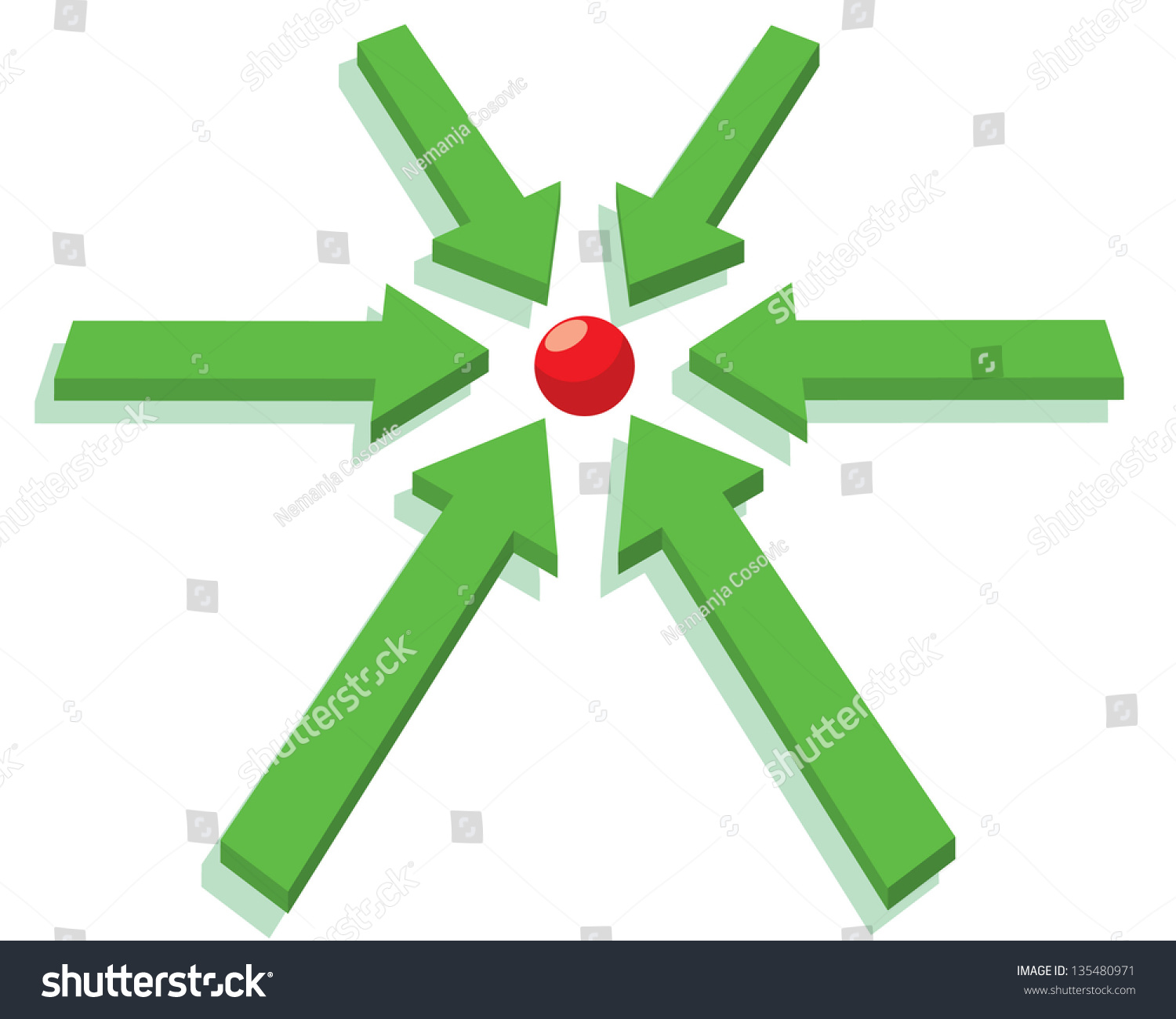 Green arrows pointing red dot center stock vector 135480971 green arrows pointing to red dot in center buycottarizona