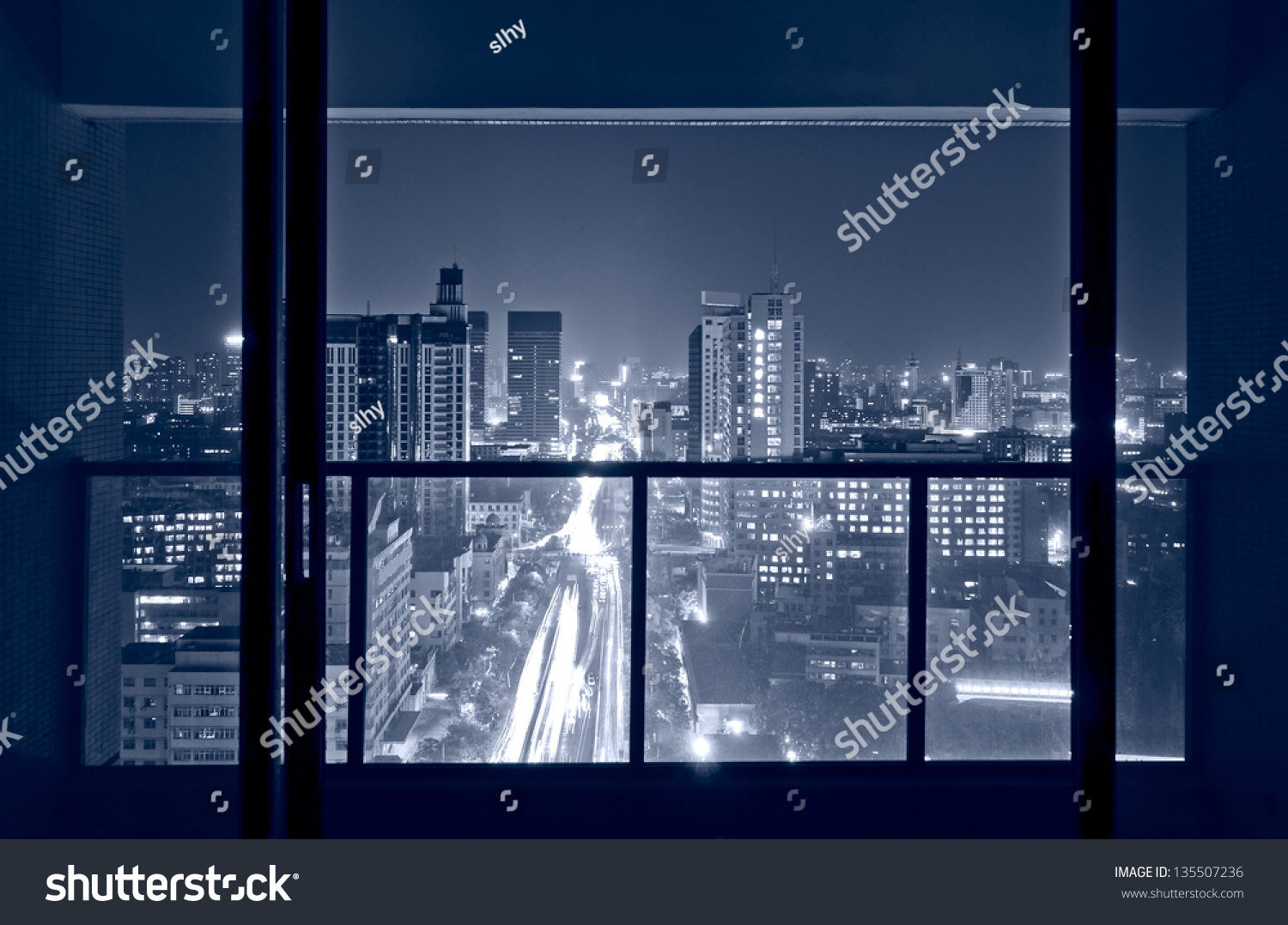Window at night from outside -