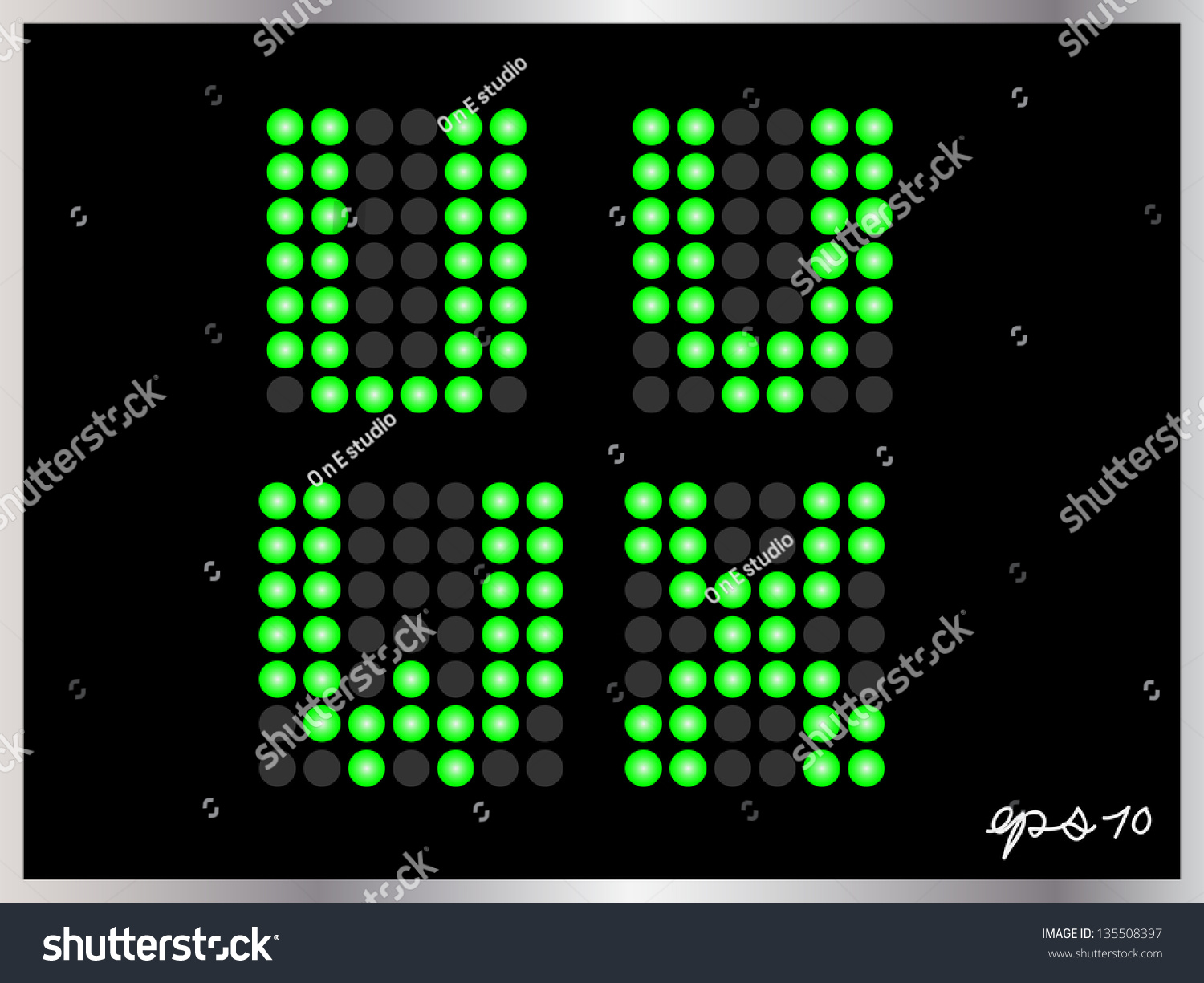 Alphabet Dots Color On Black Background Stock Vector 135508397 ...