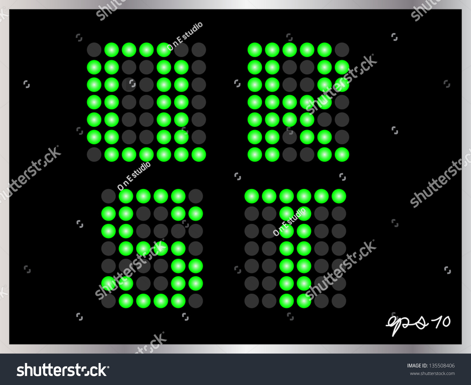 Alphabet Dots Color On Black Background Stock Vector 135508406 ...