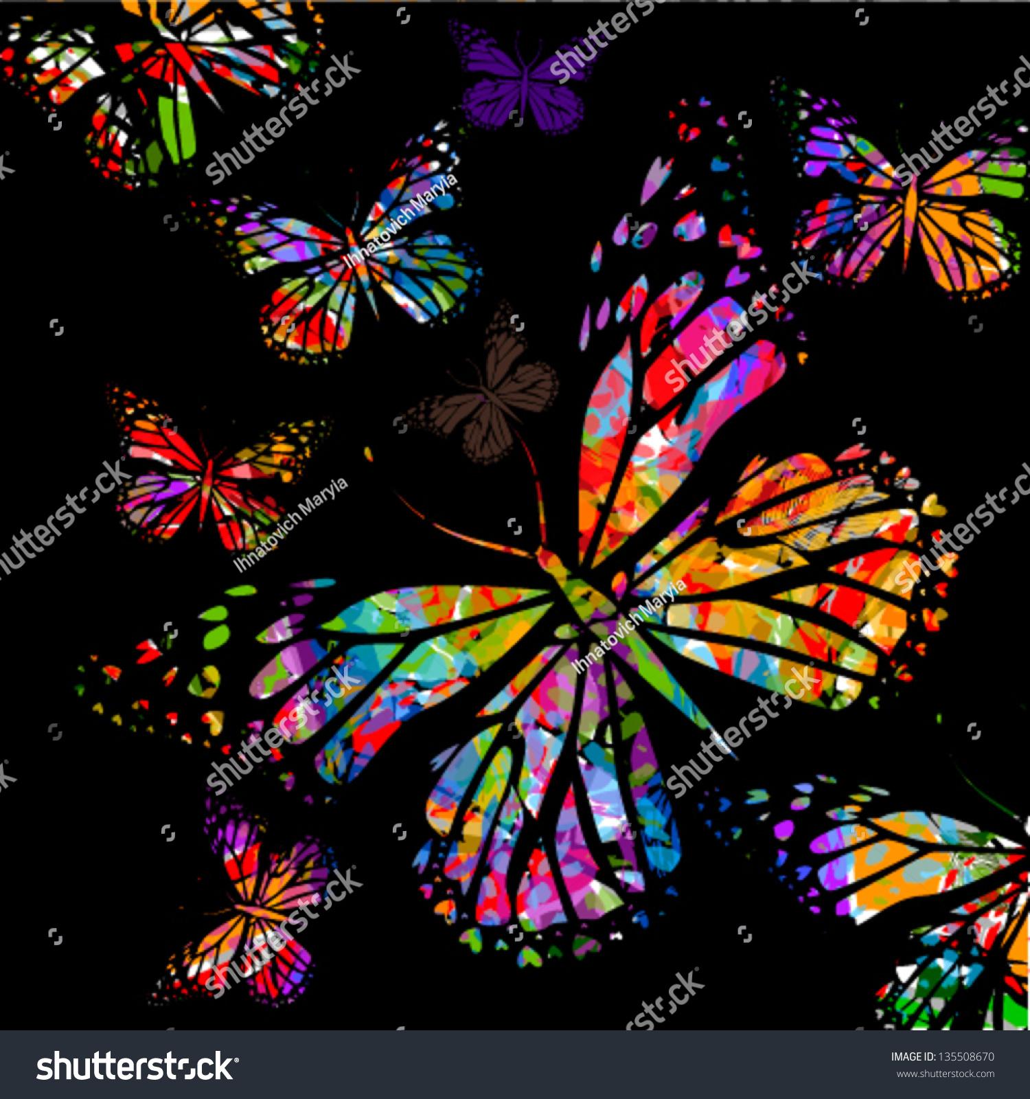 Background Colorful Butterflies Stock Vector 135508670 - Shutterstock