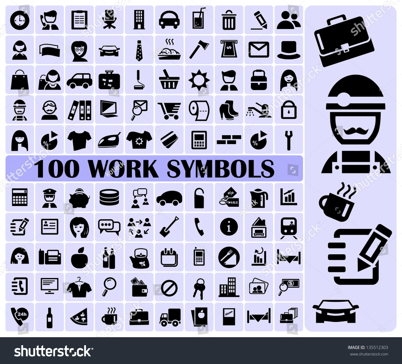 100 Work Symbols Stock Vector Royalty Free 135512303 Shutterstock