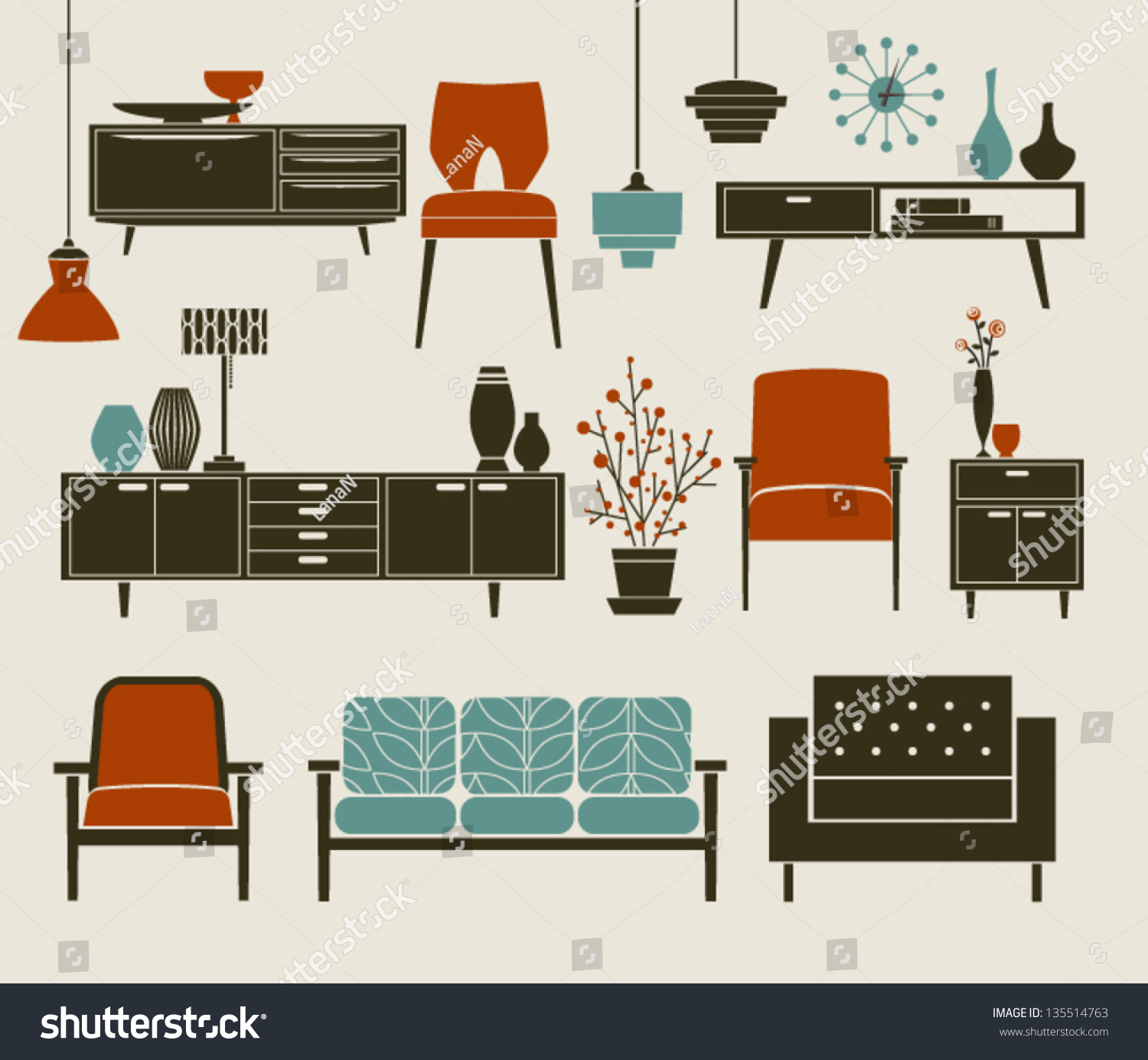 Retro furniture and home accessories including coffee for Table design vector