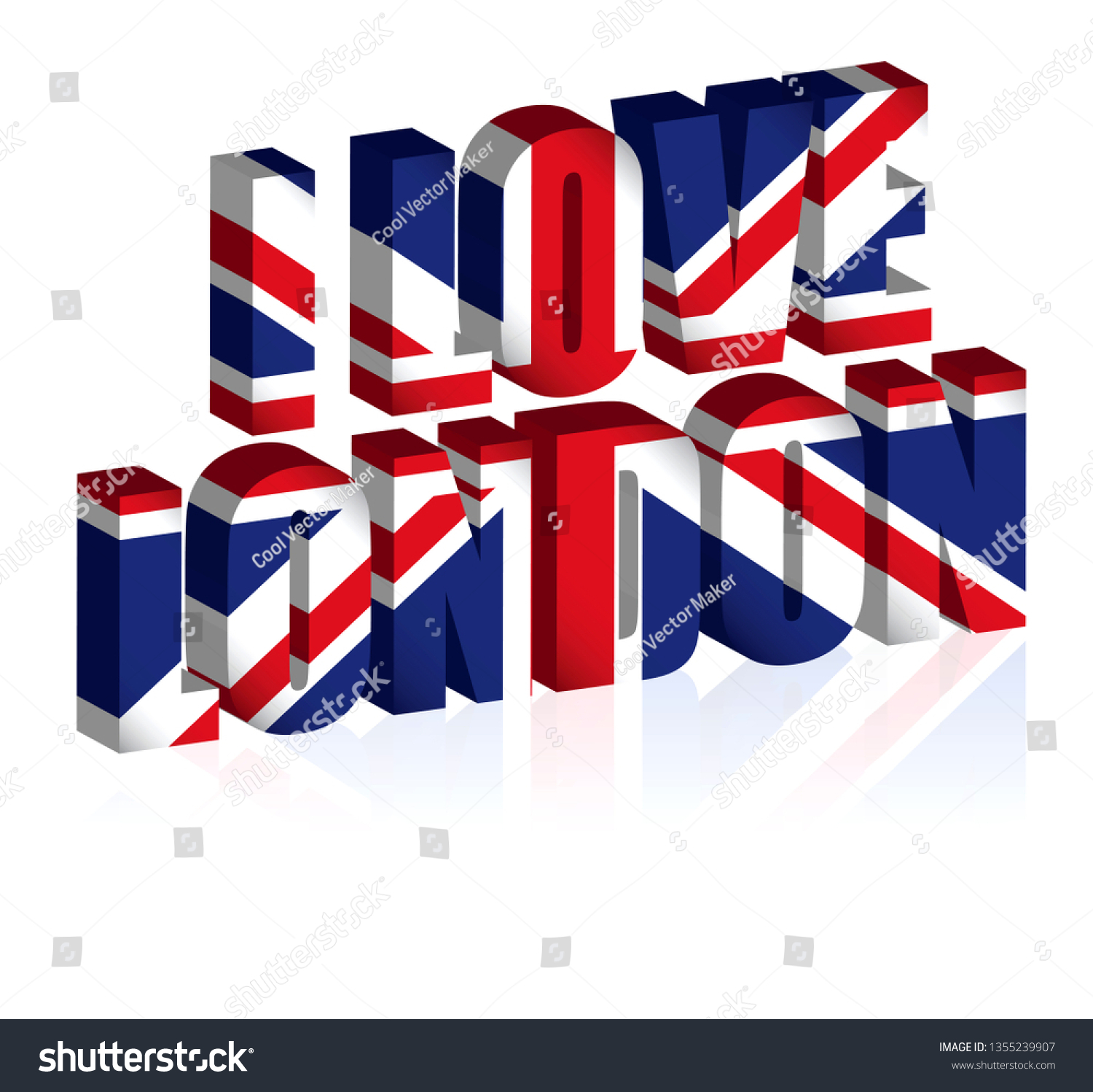 3 D Uk Text Background United Kingdom Stock Vector (Royalty Free