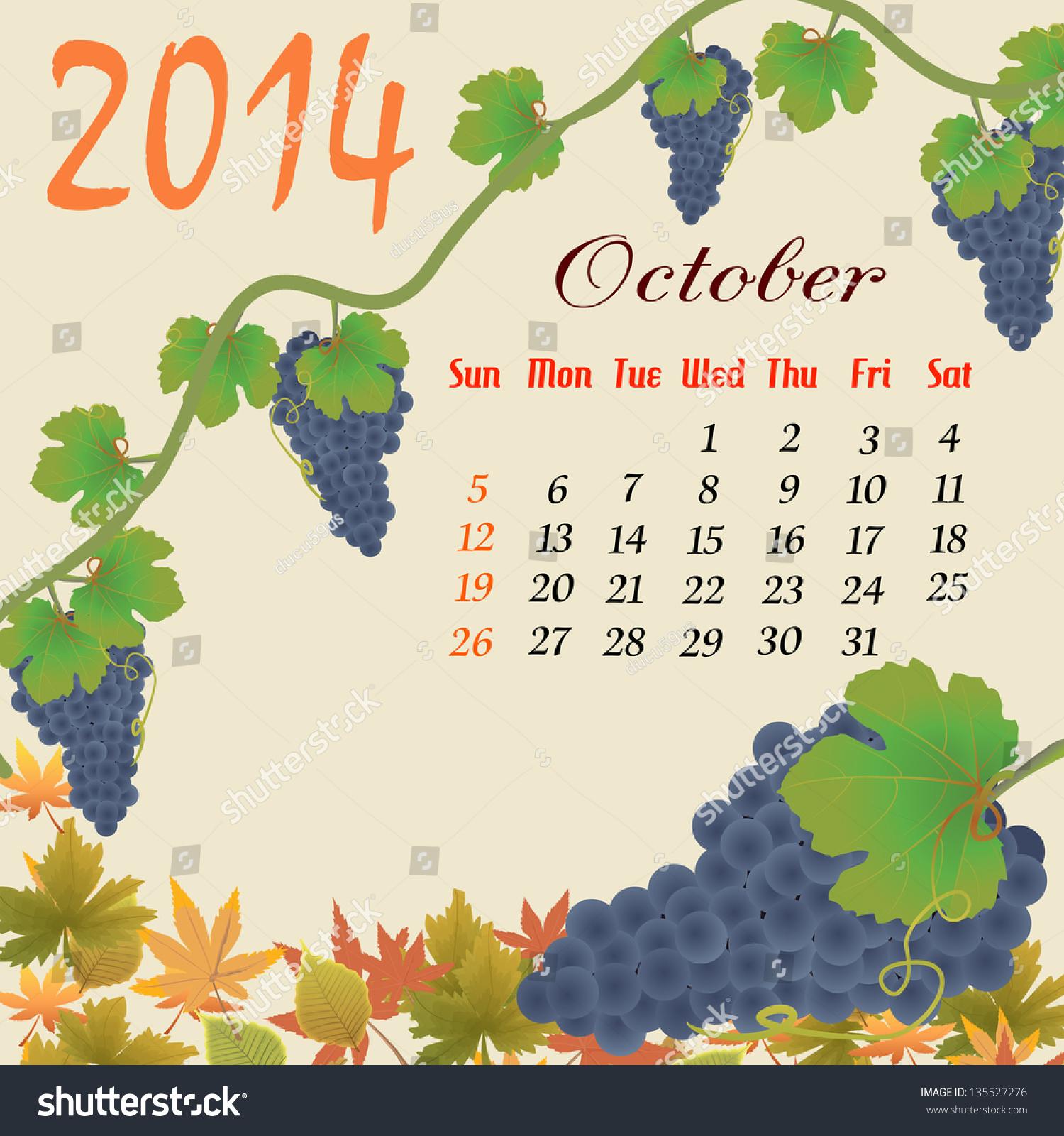 October Calendar Illustration : Calendar october grapes leaves vector stock