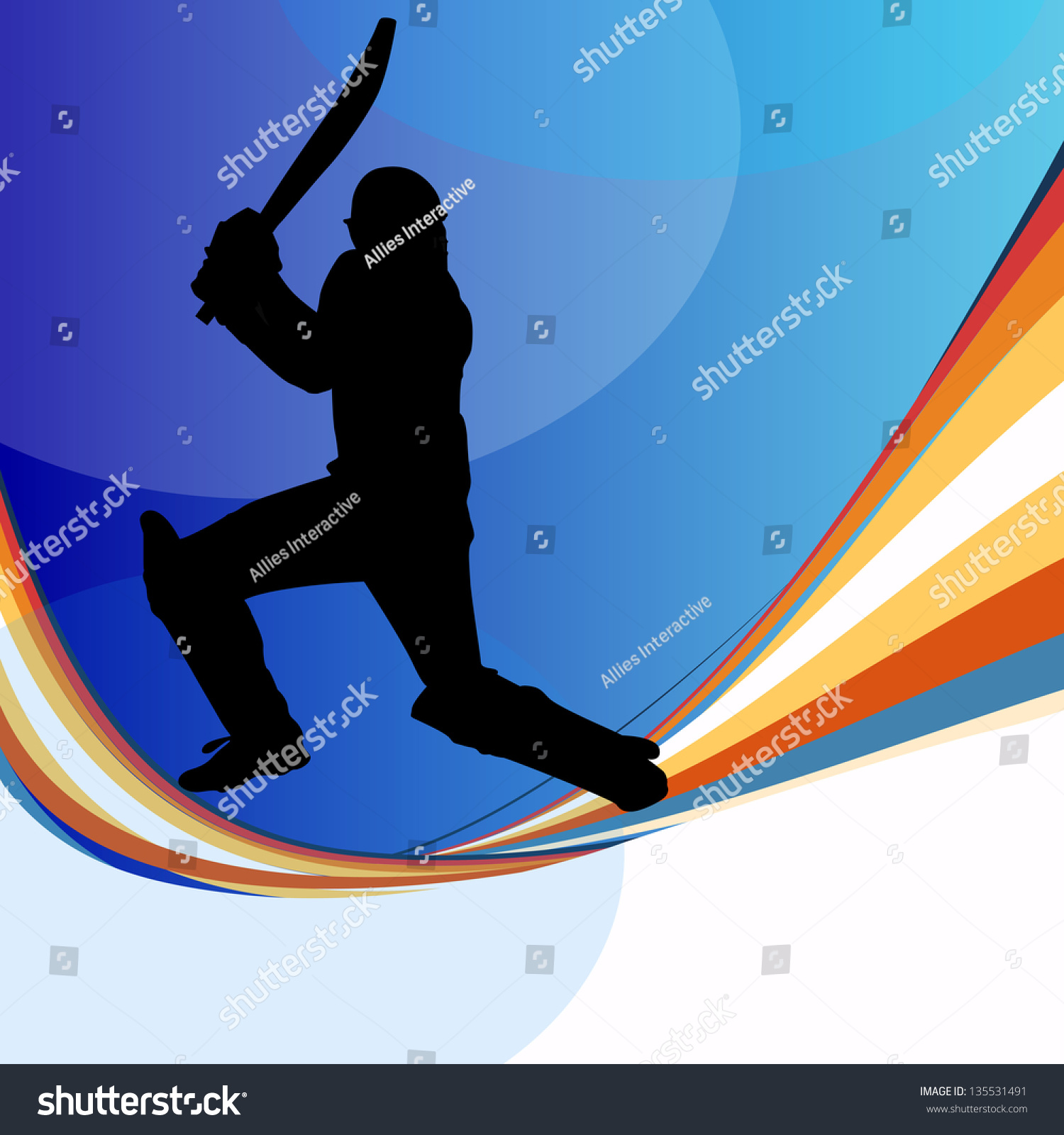 Cricket Batsman In Playing Action On Colorful Waves
