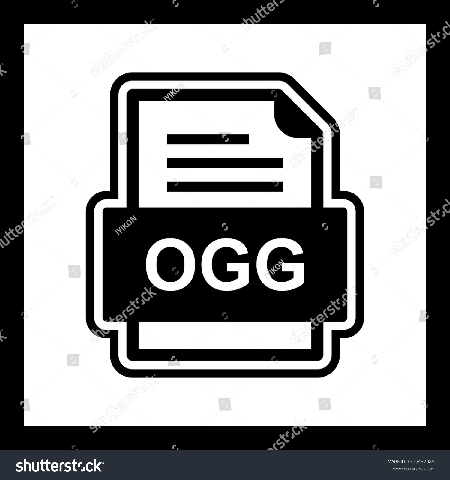 Ogg File Document Icon Stock Vector (Royalty Free) 1355482088