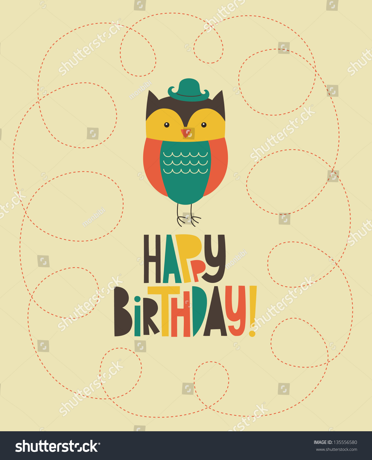 happy owl birthday card design vector stock vector, Birthday card