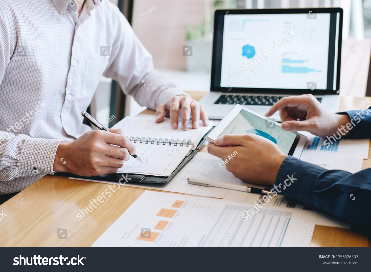 Team of coworkers work together, business making conversation with partner presentation project at meeting working and analysis, Idea presentation and strategy plan of business investment. #1355626307