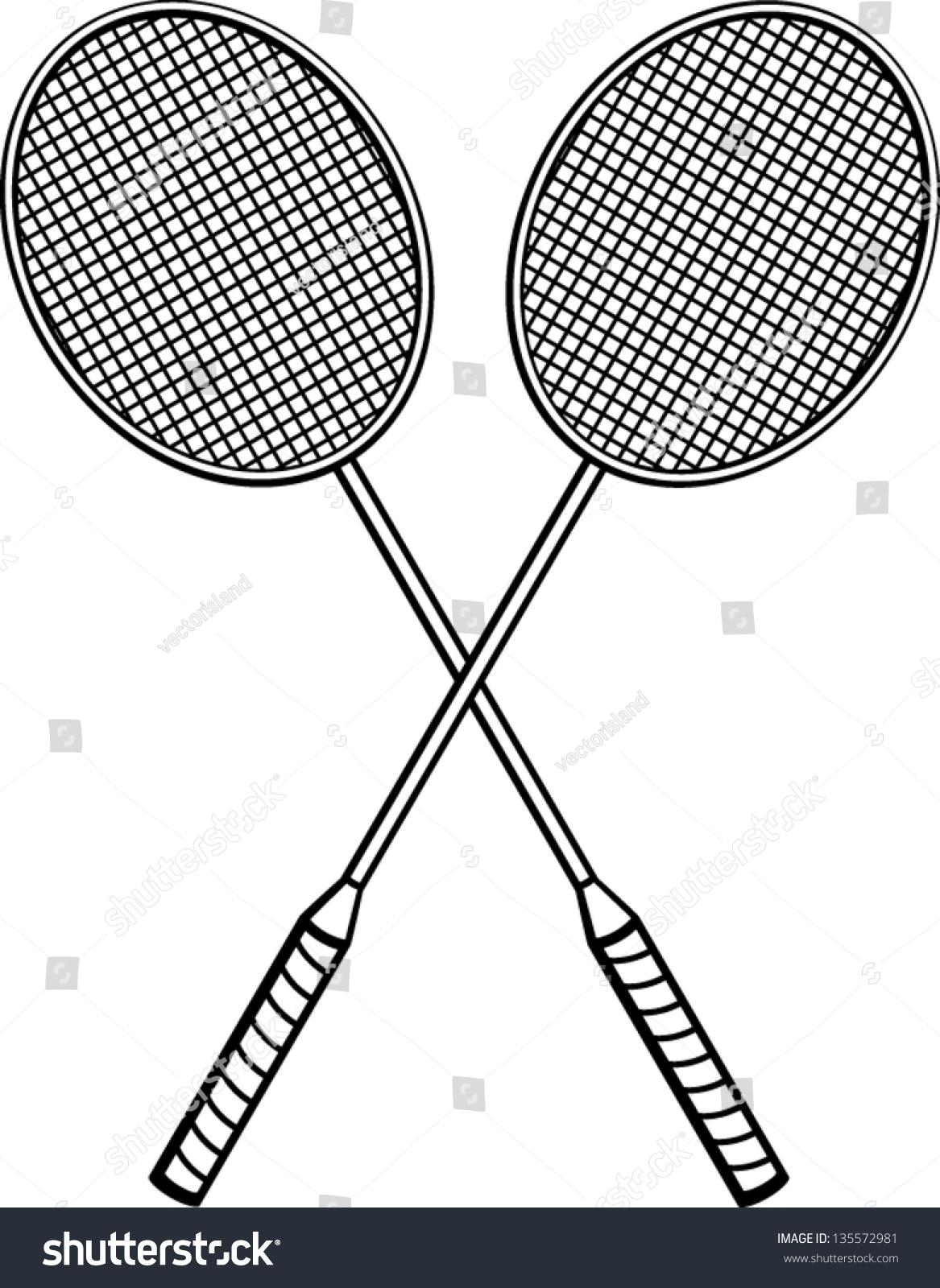 Badminton racquets drawing