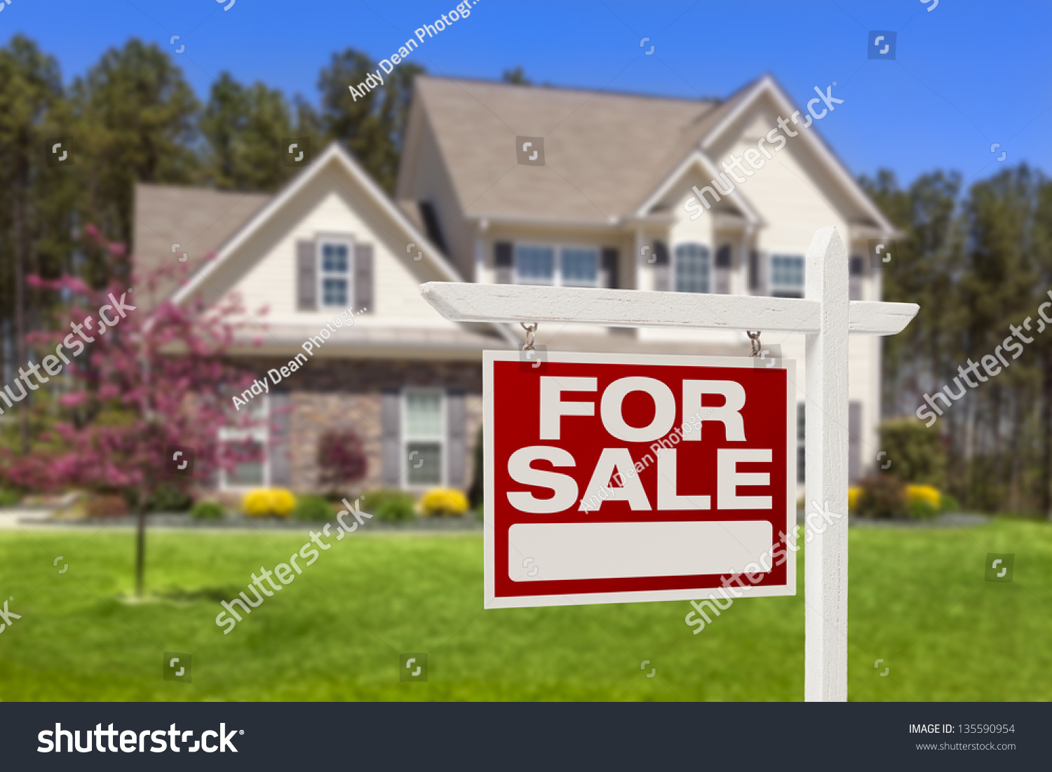 Home sale real estate sign beautiful stock photo 135590954 for Beautiful modern homes for sale