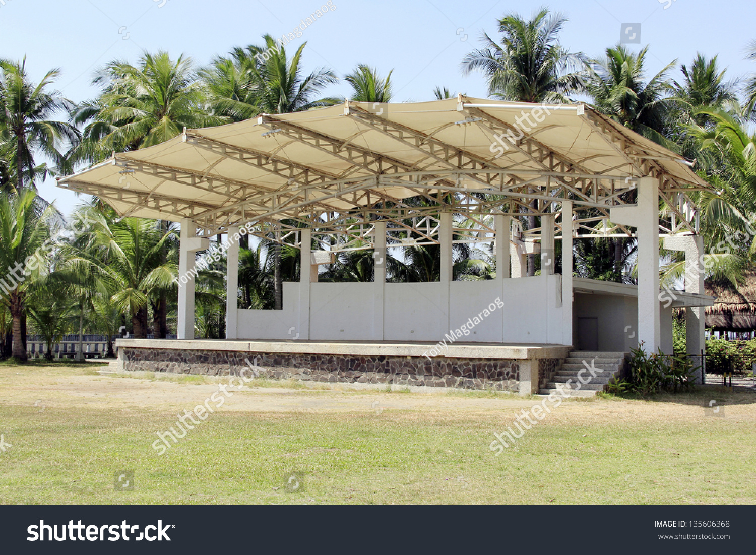 Empty outdoor rock stage - An Empty Outdoor Stage In The Park