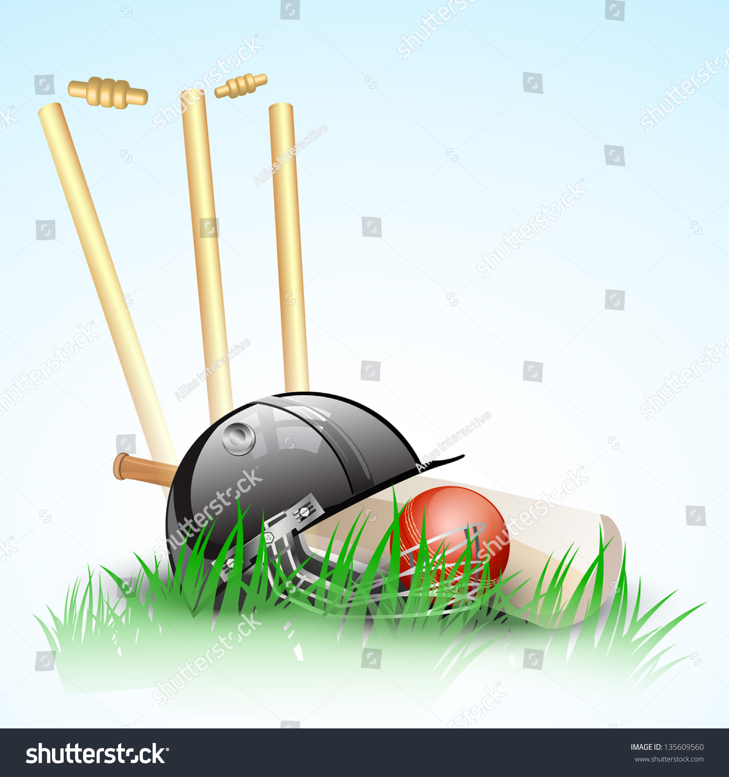 Abstract Cricket Background Stumps Ball Helmet Stock
