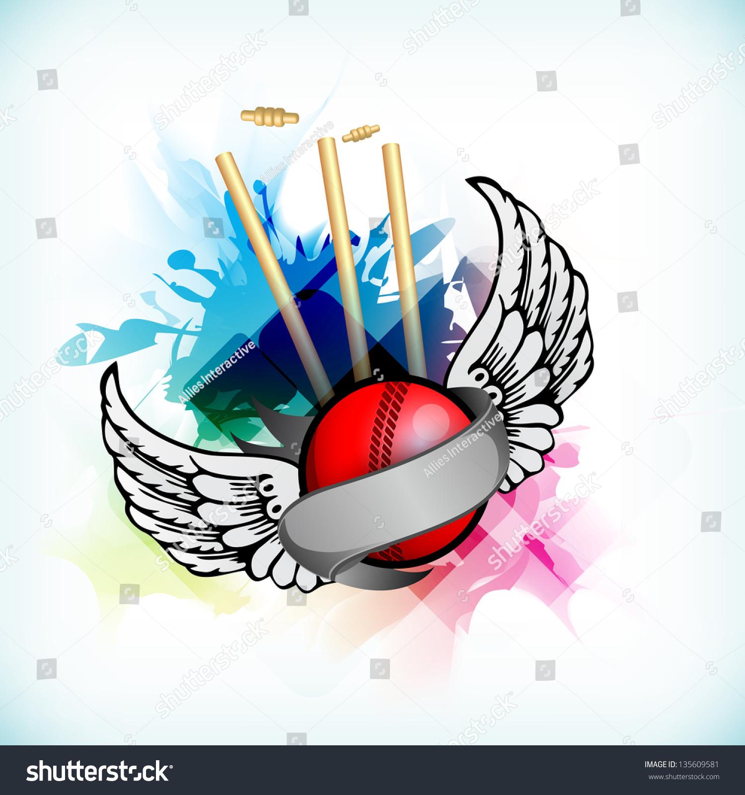 Naino Bat Dawnload Song: Abstract Cricket Background Ball On Stumps Stock Vector