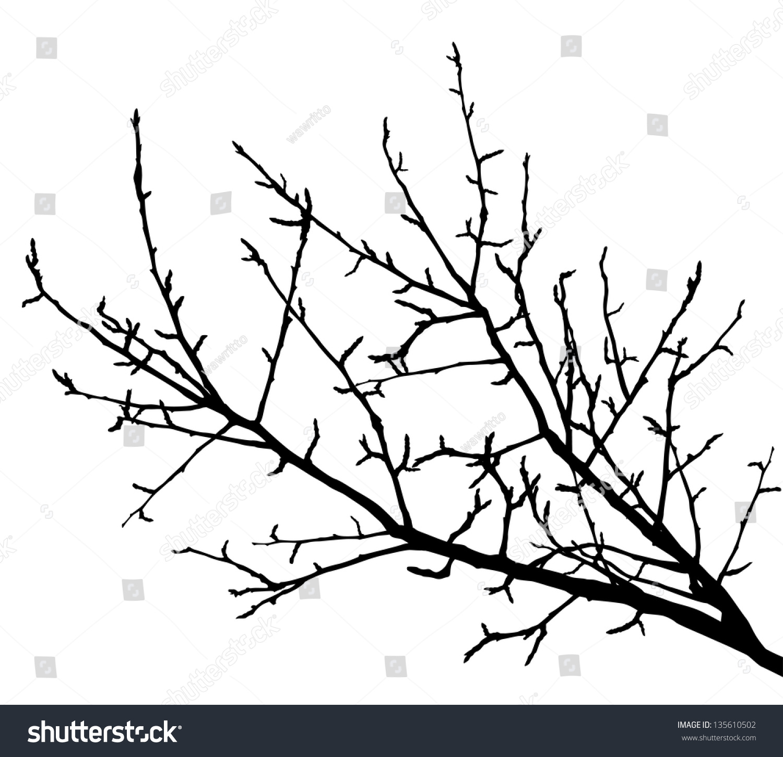 Realistic tree branches silhouette vector illustration - Ramas de arboles ...