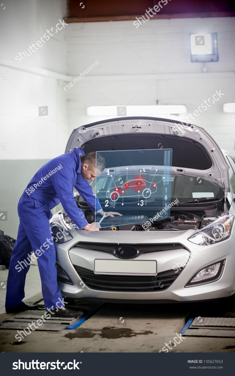Man Repairing Car Open Hood Small Stock Illustration 135627653 ...