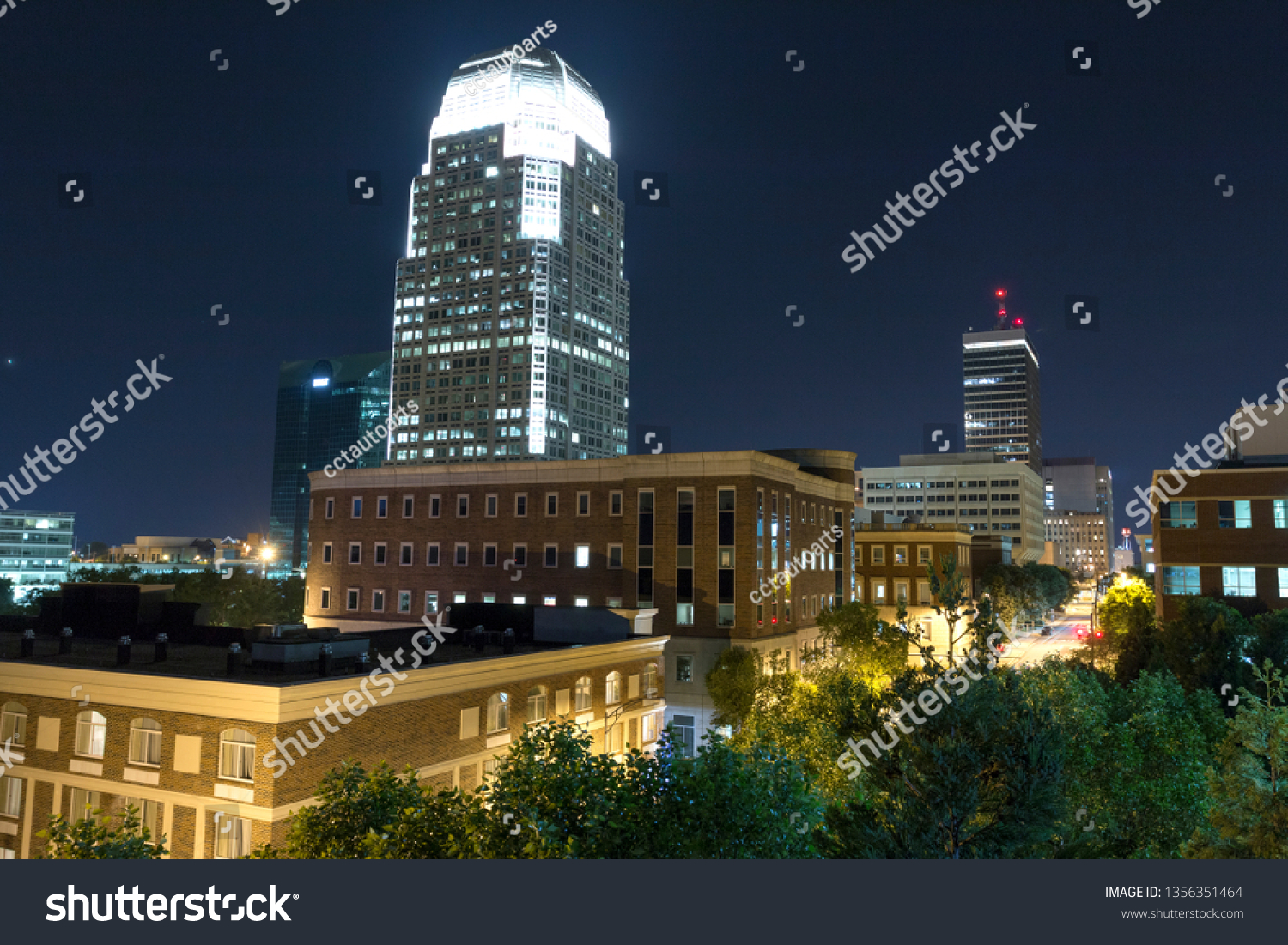High View Night Skyline Over Small Stock Photo (Edit Now) 1356351464