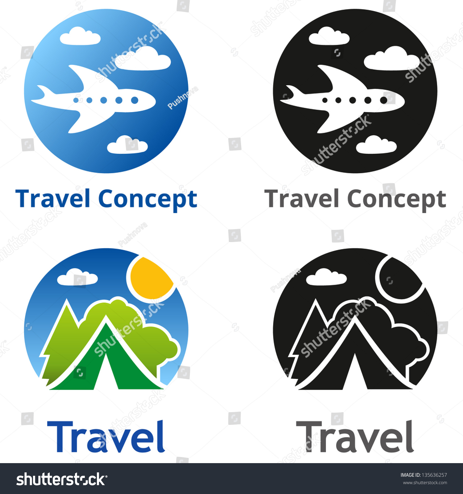 Set company name concepts set travel stock vector 135636257 set of company name concepts set of travel business concept symbols and emblems for buycottarizona