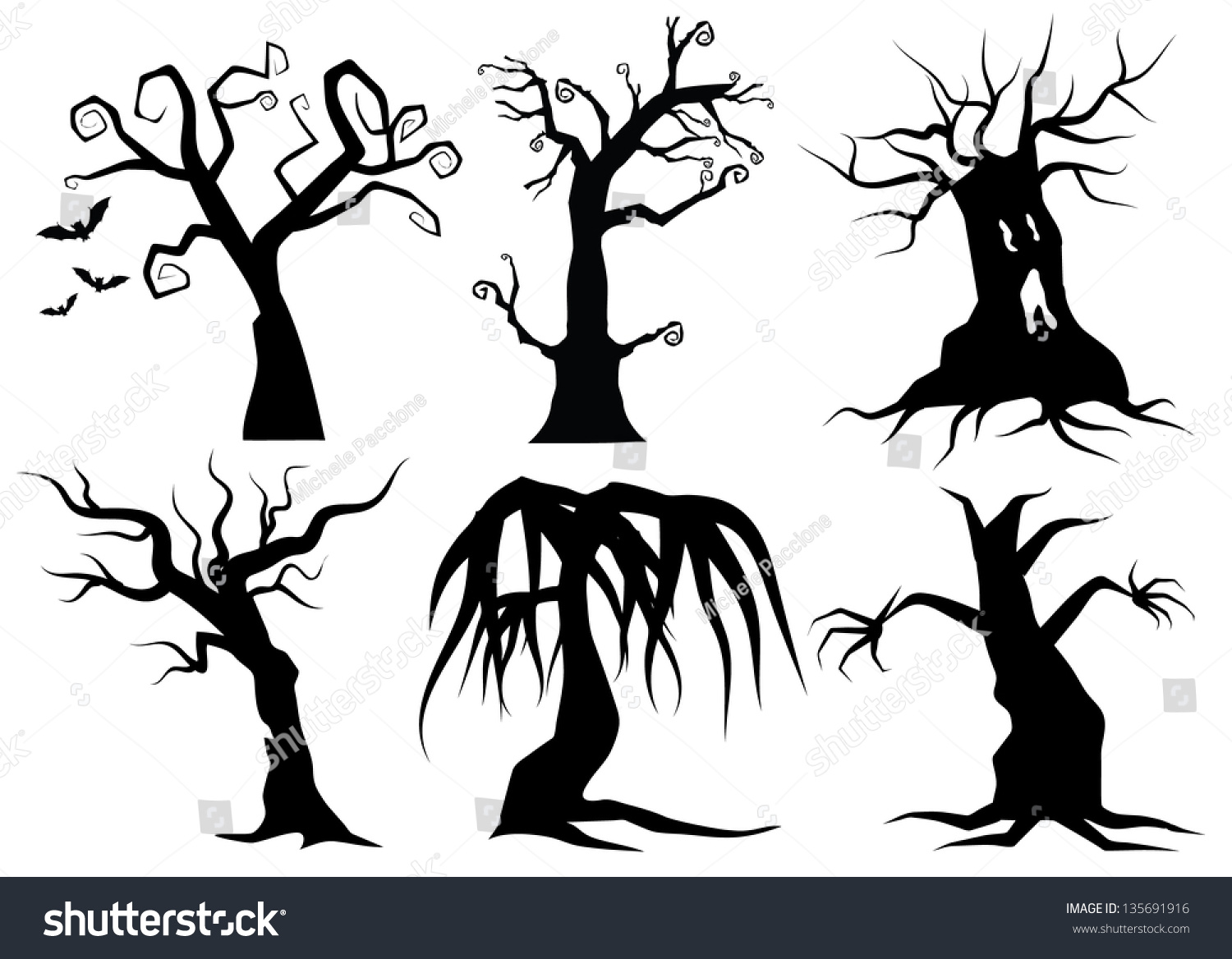 Creepy Cartoon Trees Eps 8 Vector Stock Vector Royalty Free 135691916 How to draw cartoon trees with easy step by step drawing tutorial. https www shutterstock com image vector creepy cartoon trees eps 8 vector 135691916