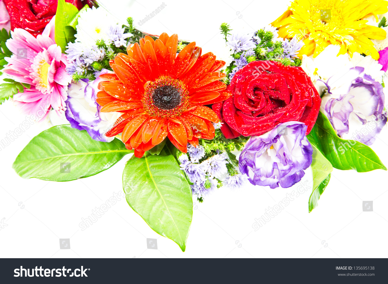 Mixed Colorful Flower Bouquets Isolated On Stock Photo (Royalty Free ...