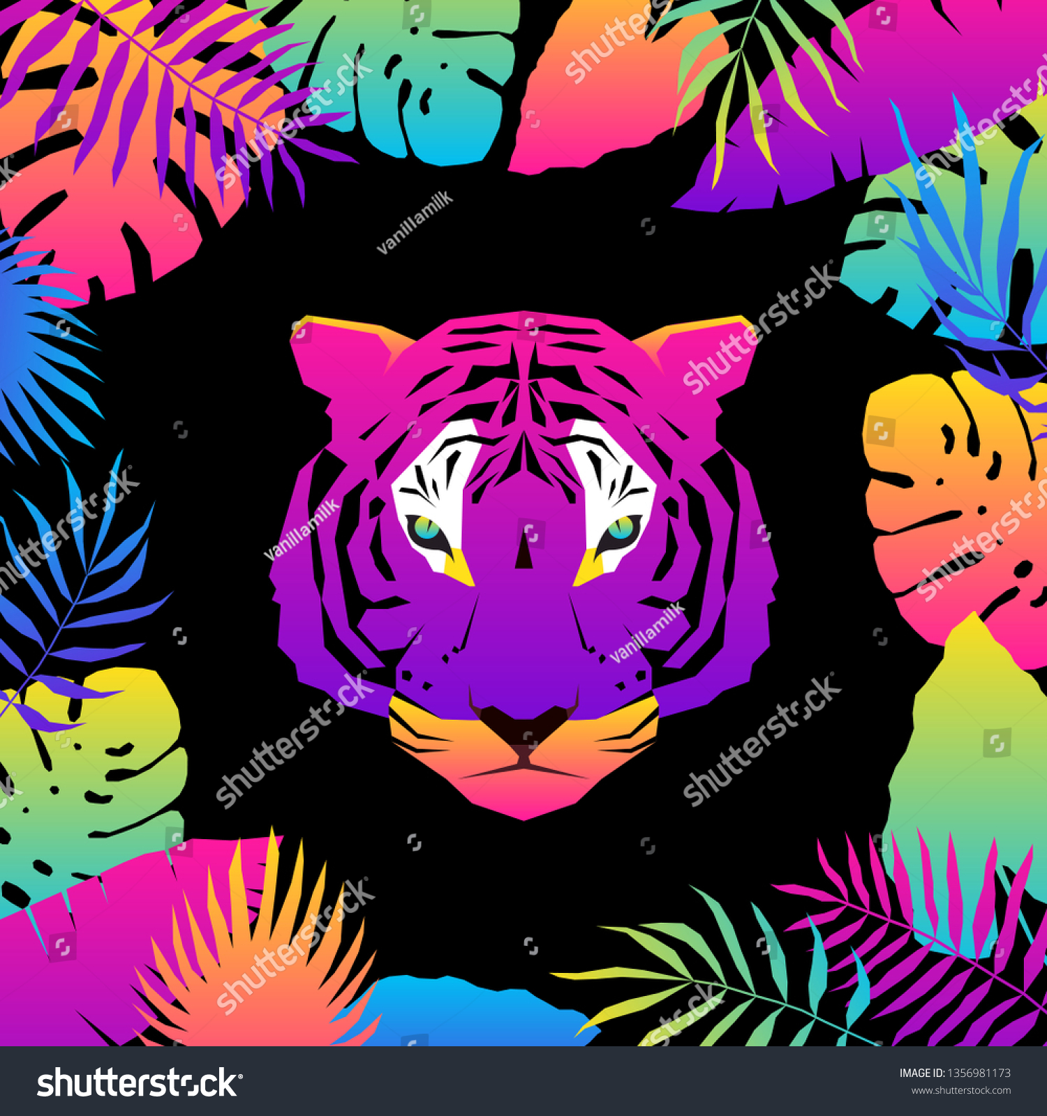 Abstract Paper Cut Tiger Portrait Pattern Childish Crafted For Design Birthday Card Veterinarian