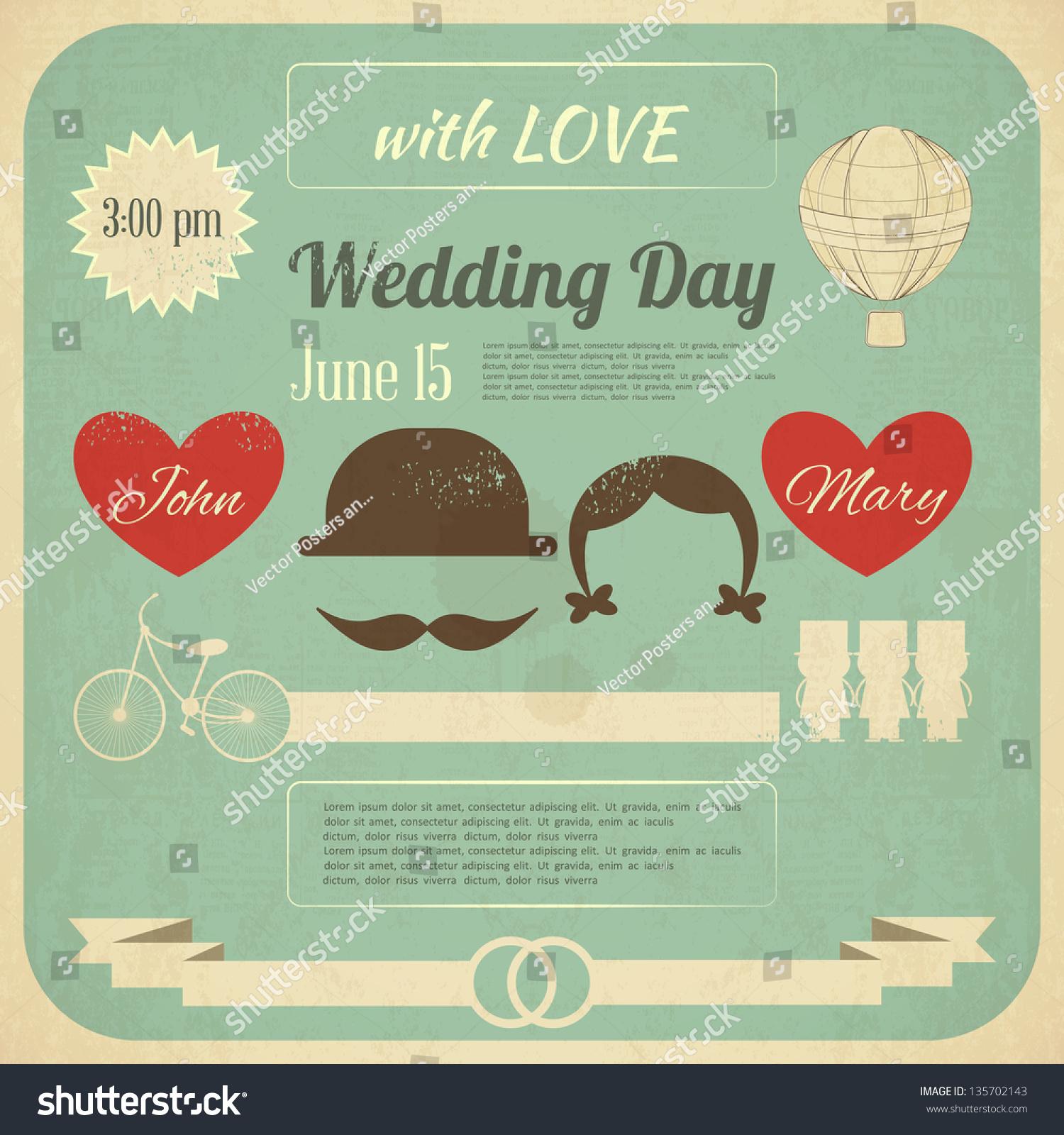 Wedding Invitation In Retro Infographics Style. Vintage