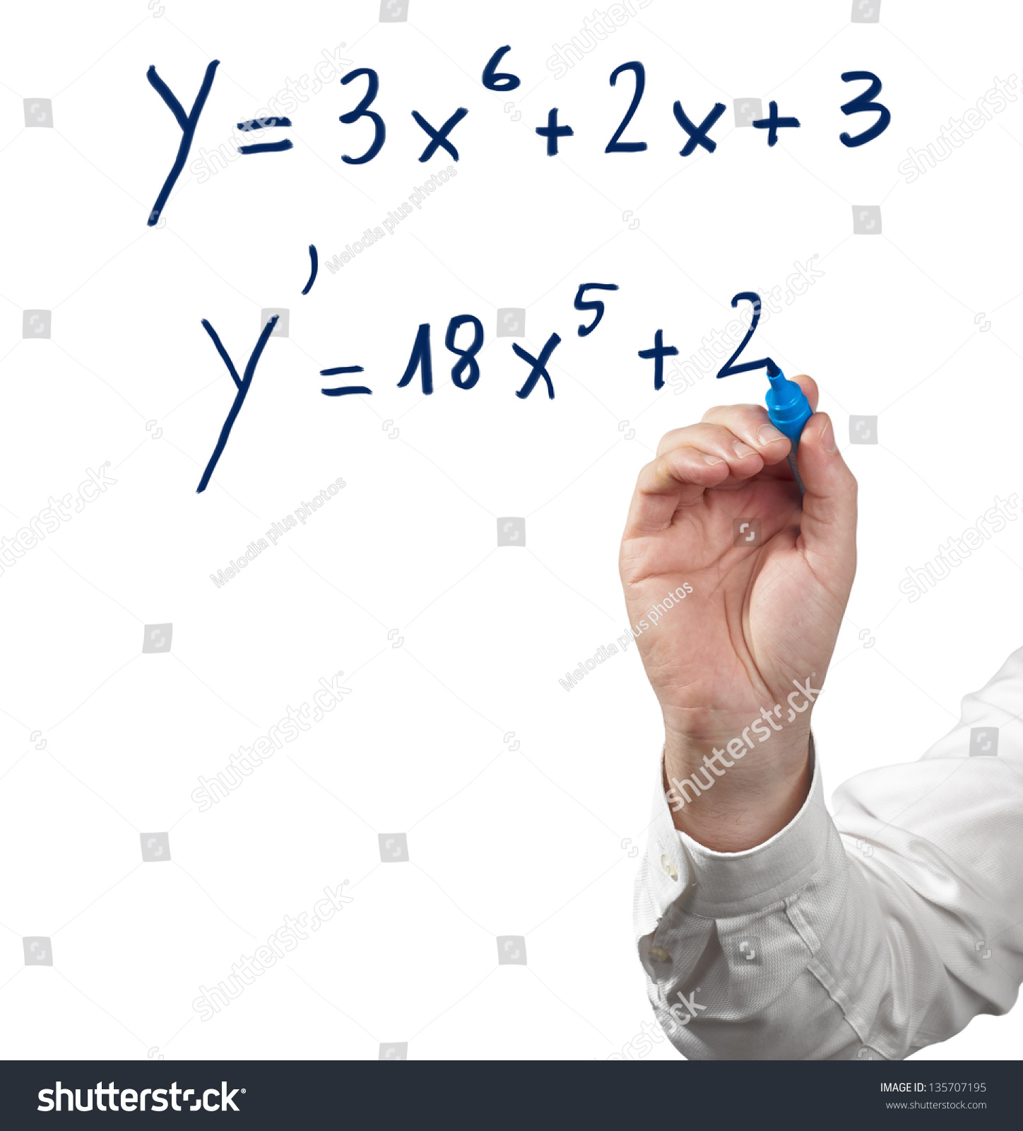 Solving Differential Calculus Isolated On White Stock Photo (Royalty ...