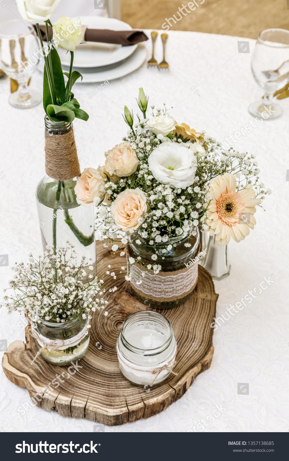 Elegant Vintage Wedding Table Decor Stock Photo (Edit Now) 1357138685