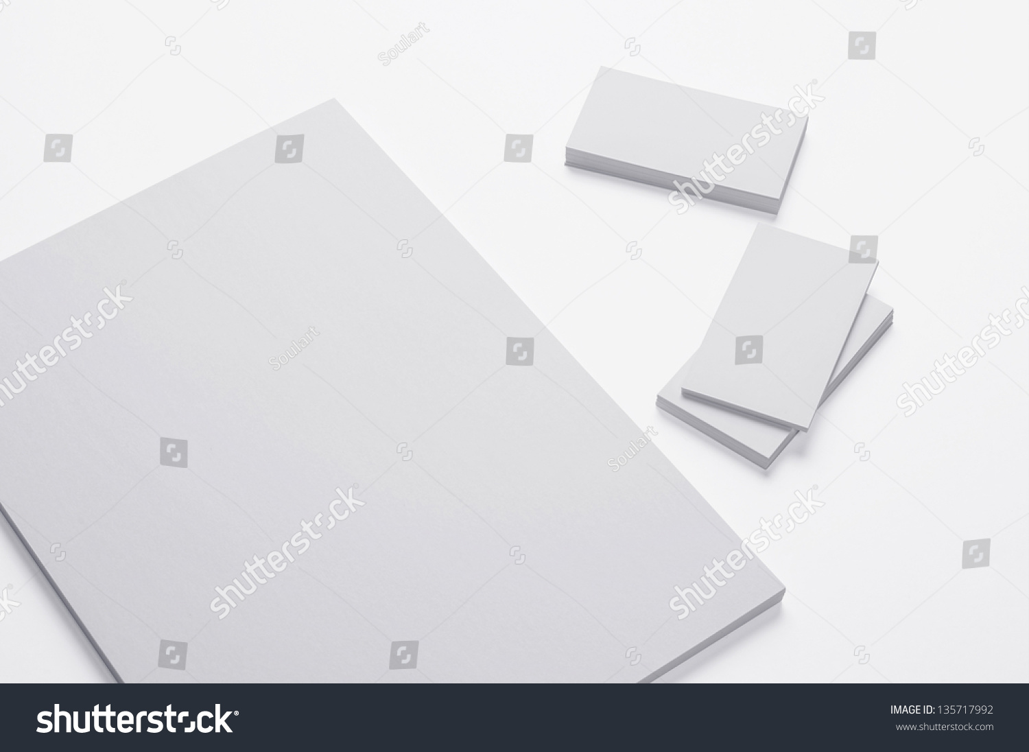 Blank A4 Print Paper Business Cards Stock Illustration 135717992 ...