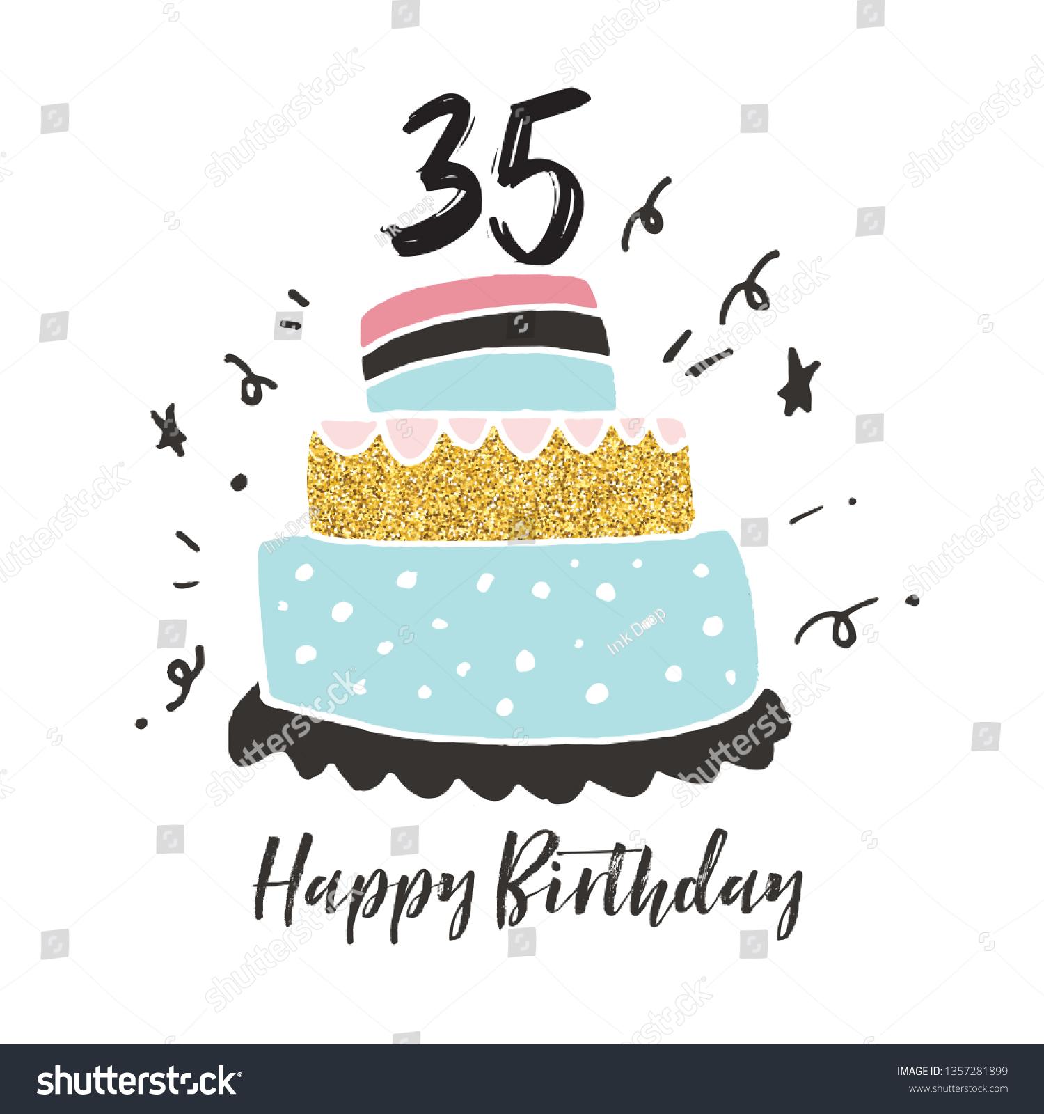 Incredible 35Th Birthday Hand Drawn Cake Birthday Stock Vector Royalty Free Personalised Birthday Cards Sponlily Jamesorg