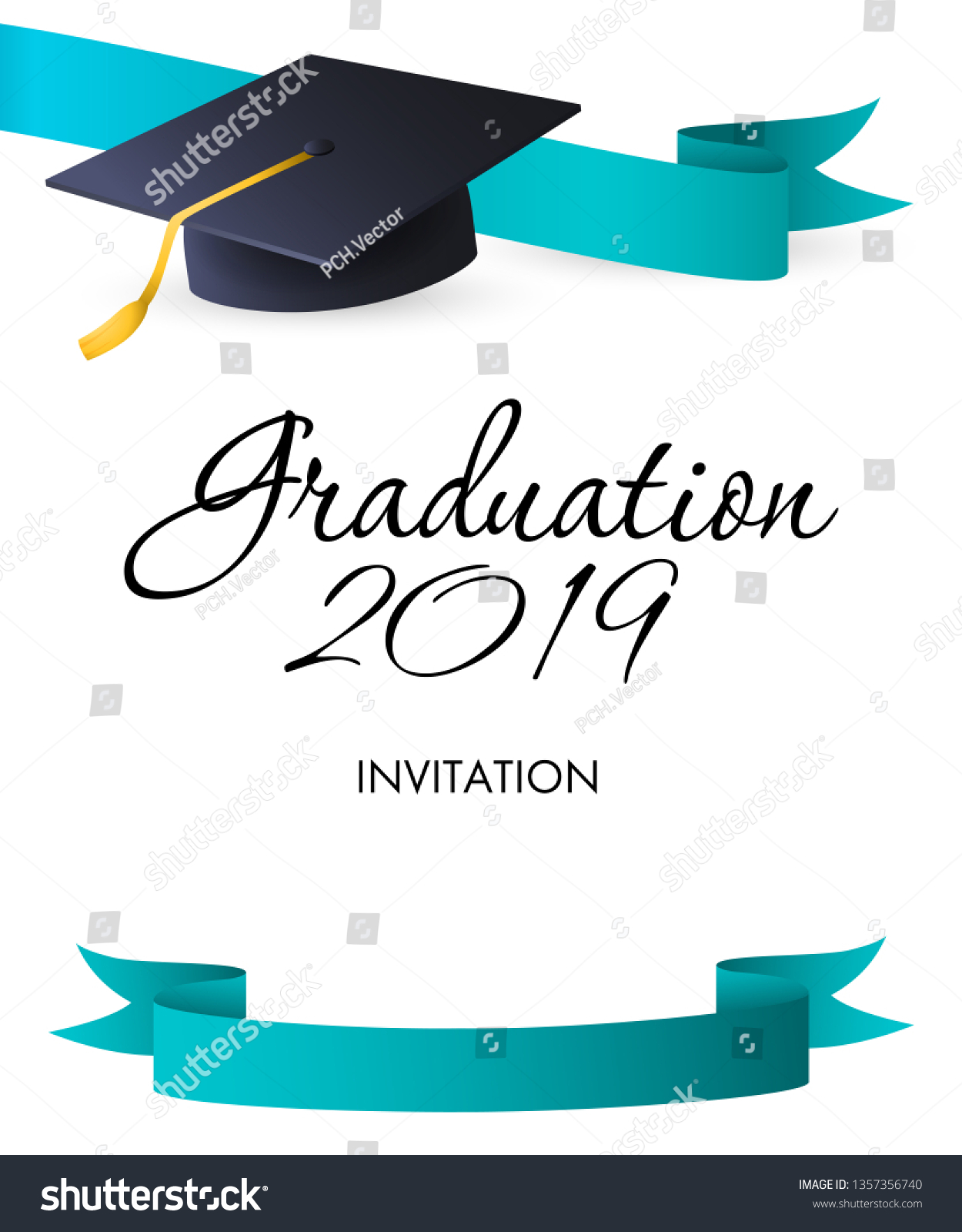 Graduation 2019 Invitation Design Blue Ribbons Stock Vector (Royalty