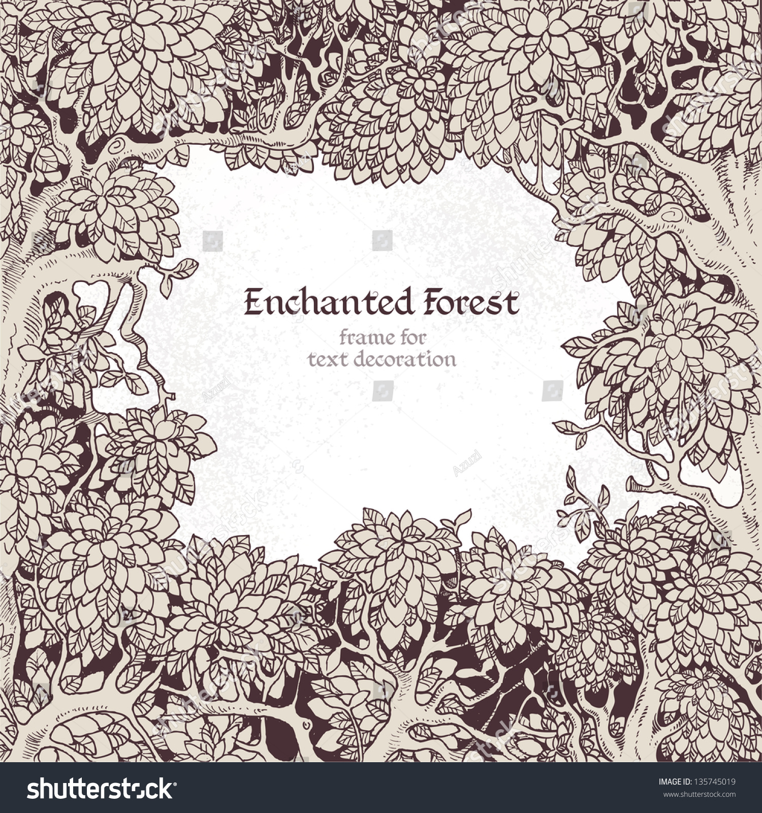 Frame text decoration enchanted forest stock vector for A text decoration