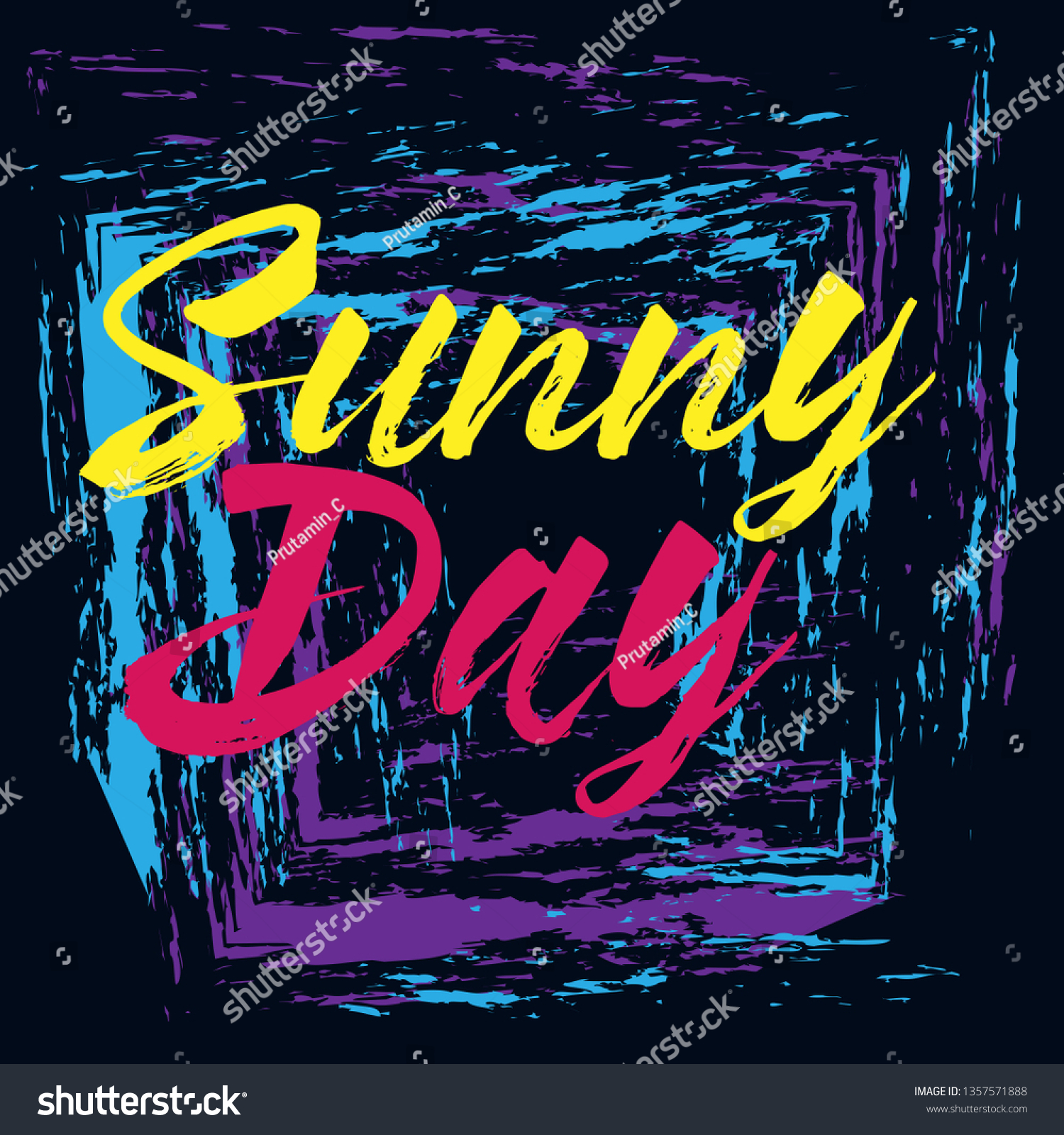 sunny day, Beautiful greeting card poster with painting calligraphy text